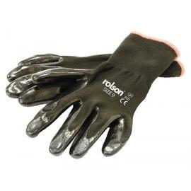 ROLSON Set of 4 - Black Nitrile Coated Gloves - Washable (Size Large)