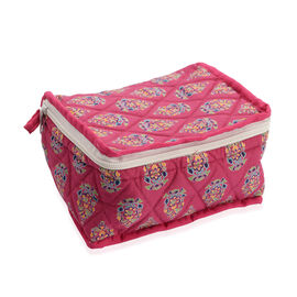 Cotton Traditional Print Quilted Makeup Bag (Size 15x7x14cm) - Fuchsia