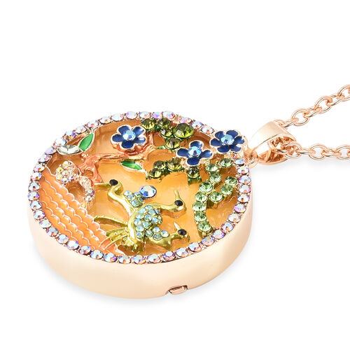 Yellow Quartzite, Simulated Emerald and Multi Colour Austrian Crystal Enamelled Floral vine and Crane Pendant with Chain (Size 24 with 3 inch Extender) in Yellow Gold Tone 100.00 Ct.