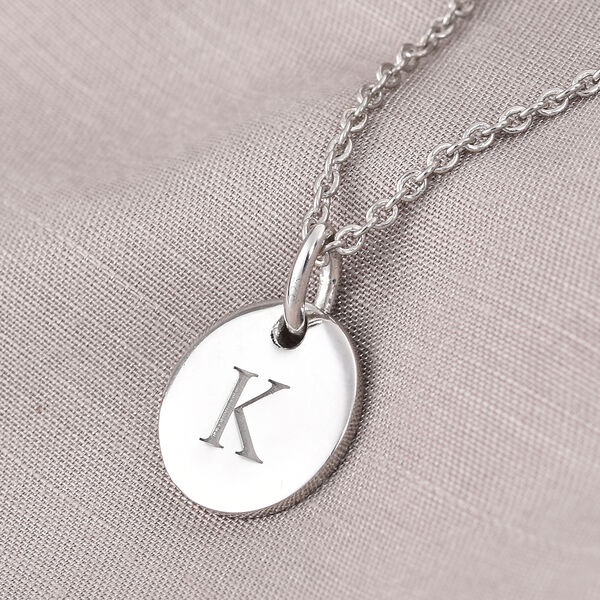 Personalise Initial Engraved 12MM Disc Pendant with Chain in Silver