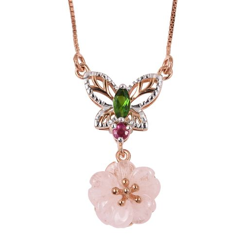 Jardin Collection -Marropino Morganite Flower, Russian Diopside and Burmese Ruby Butterfly Necklace (Size 18) in Rose Gold Overlay Sterling Silver 3.040 Ct.