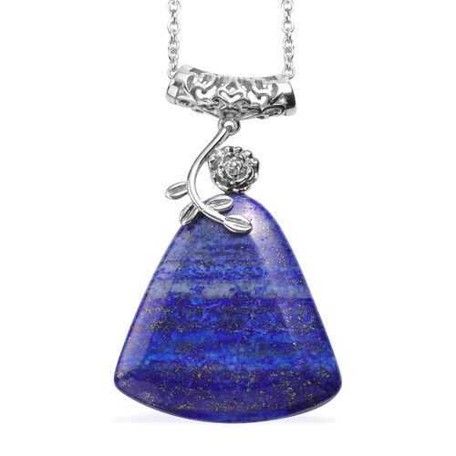 2 Piece Set - Lapis Lazuli Hook Earrings and Pendant with Chain (Size 20 with 2 inch Extender) in Silver Tone