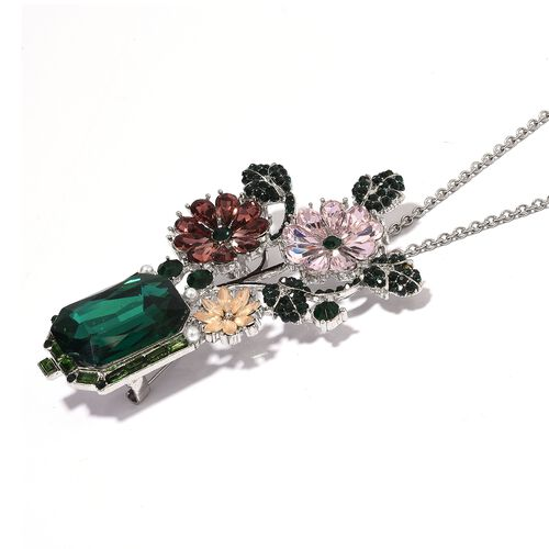 Multi Colour Austrian Crystal, Simulated Pearl Pendant With Chain (Size 20) in Stainless Steel