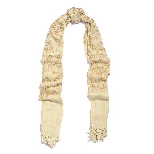 100% Merino Wool Champagne, Beige and Golden Colour Paisley and Leaves Embroidered Scarf with Tassels (Size 180X68 Cm)