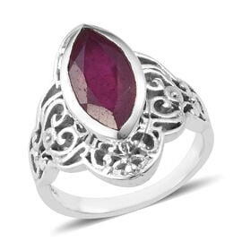 3.84 Ct African Ruby Solitaire Ring in Sterling Silver 6.04 Grams