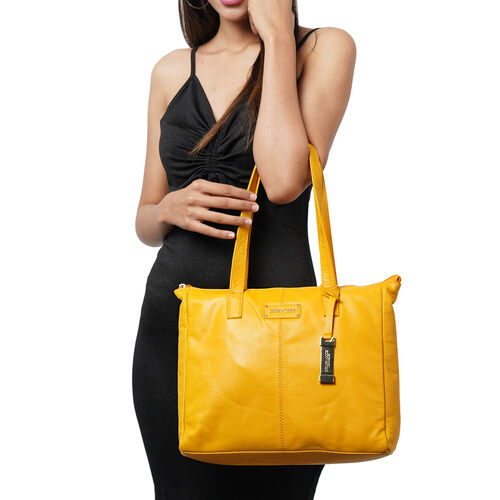 UNION CODE - 2 Piece Set 100% Genuine Leather Tote Bag (Size 33x12.5x27.5 Cm) with Zipper Closure and RFID Protected Wristlet Clutch (Size 20.5x12 Cm) - Yellow