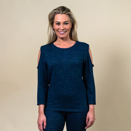 TAMSY Full Sleeves Cold Shoulder Top - Navy