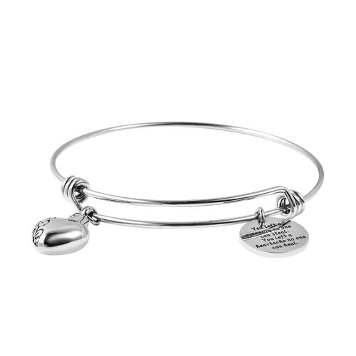 2 Piece Set - Adjustable Charm Bangle (Size 7.5) and  Funnel with Needle in Stainless Steel