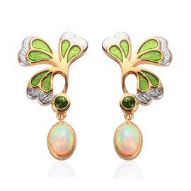 Ethiopian Welo Opal and Russian Diopside Enamelled Leaf Drop Earrings in 14K Gold Overlay Sterling S
