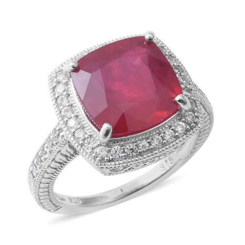 African Ruby (Cush 10.80 Ct), Natural White Cambodian Zircon Ring in Rhodium Overlay Sterling Silver