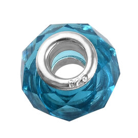 Charmes De Memoire Blue Murano Style Glass in Platinum Plated Sterling Silver