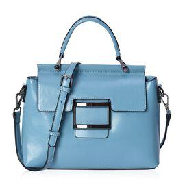 100% Genuine Leather Blue Colour Bag (Size 26x10x20.5 Cm) with Detachable Shoulder Strap (113 Cm) an