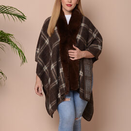 Checkered Print Kimono with Faux Fur Collar (Size 78x109cm) - Brown