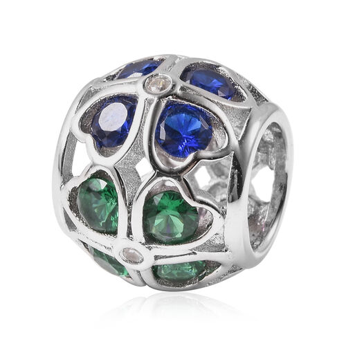 Charms De Memoire Simulated Diamond and Multi Colour Gemstone Charm in Rhodium Overlay Sterling Silv
