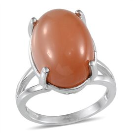 Mitiyagoda Peach Moonstone (Ovl) Solitaire Ring in Platinum Overlay Sterling Silver 13.500 Ct.