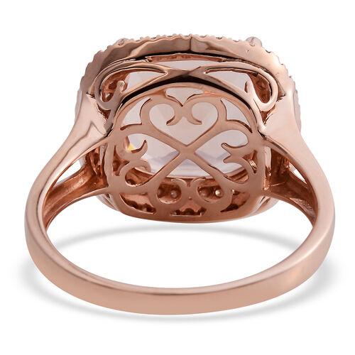 ILIANA 18K Rose Gold AAA Marropino Morganite (Cush 12mm, 6.50 Ct) and Diamond (SI/G-H) Ring 6.920 Ct.