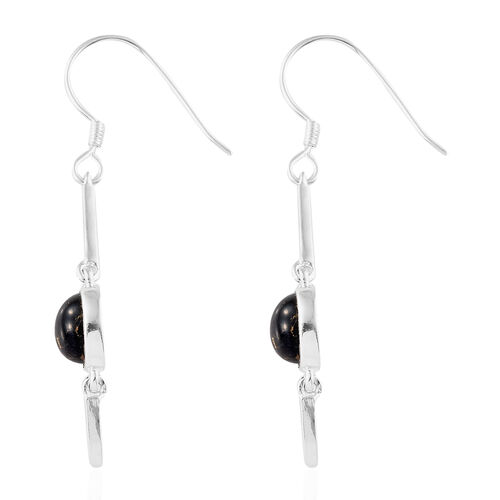 Mojave Black Turquoise (Rnd) Hook Earrings in Sterling Silver 3.750  Ct.