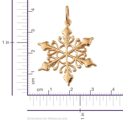 14K Gold Overlay Sterling Silver Snowflake Pendant, Silver wt 3.38 Gms.