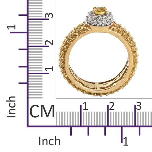Chanthaburi Yellow Sapphire (Rnd), Natural Cambodian Zircon Ring in 14K Gold and Platinum Overlay Sterling Silver 3.500 Ct. Number of Gemstone 146.