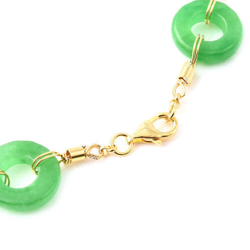 Green Jade Station Necklace (Size 30) in Yellow Gold Overlay Sterling Silver 136.74 Ct, Silver wt 9.40 Gms