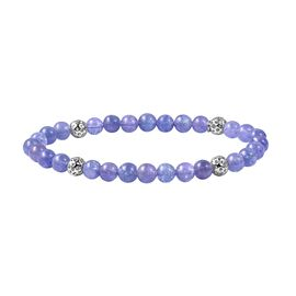RACHEL GALLEY 30 Ct Tanzanite Stretchable Beaded Bracelet in Rhodium Plated Sterling Silver 7 Inch