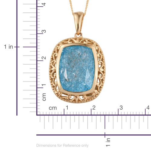 Paraiba Blue Crackled Quartz (Cush) Pendant With Chain in 14K Gold Overlay Sterling Silver 10.250 Ct.