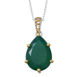 Verde Onyx (Pear 18x13 MM) Drop Pendant with Chain in Rhodium Plated Sterling Silver 8.500 Ct.