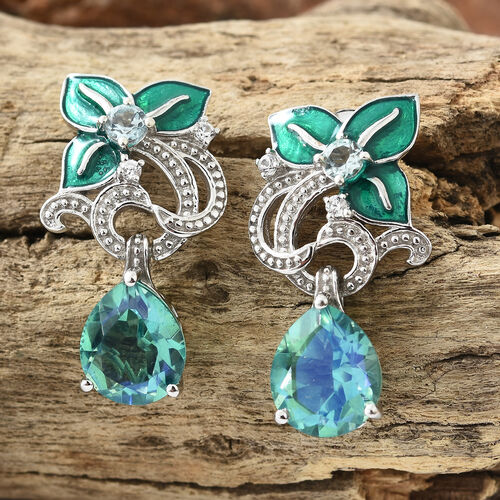 GP Peacock Quartz (Pear), Blue Apatite and Multi Gemstone Earrings with Push Back in Platinum with Enameled Overlay Sterling Silver 9.500 Ct, Silver wt 9.18 Gms.
