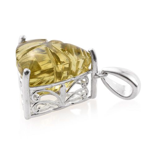Premium Laser Cut Brazilian Green Gold Quartz (Trl) Pendant in Platinum Overlay Sterling Silver 10.000 Ct.