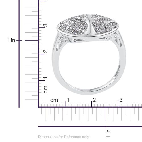 J Francis - Platinum Overlay Sterling Silver (Rnd) Tree Ring Made with SWAROVSKI ZIRCONIA