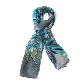 New for Season - 100% Mulberry Silk Blue, Olive Green and Grey  Colour Scarf (Size 175x50 Cm)