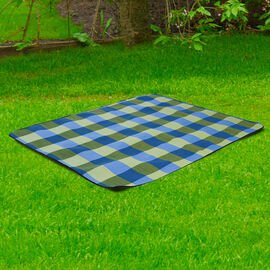 Checker Pattern Picnic Blanket (Size 198x146cm) in Green & Blue