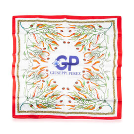 GP - 100% Mulberry Silk Handkerchief with Red and green chilli pattern (45x45Cm)