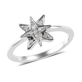 Diamond (Rnd) Starburst Ring in Platinum Overlay Sterling Silver