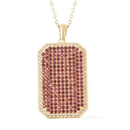 2.46 Ct Rhodolite Garnet and Zircon Cluster Pendant with Chain in 14K Gold Plated Silver 18 Inch