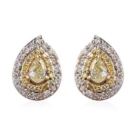 9K Yellow Gold Diamond (Rnd), Natural Yellow Diamond Stud Earrings (with Push Back) 0.50 Ct.