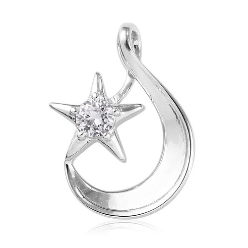 ELANZA Simulated Diamond Crescent Moon and Star Pendant in Platinum Overlay Sterling Silver