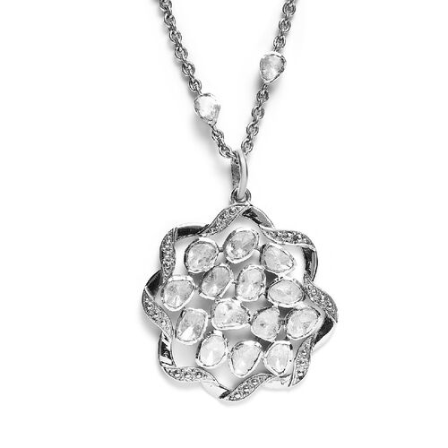 Limited Edition- GP Art Deco - Polki Diamond and Blue Sapphire Cluster Necklace (Size 18with 2 inch Extender) in Platinum Overlay Sterling Silver 3.00 Ct.