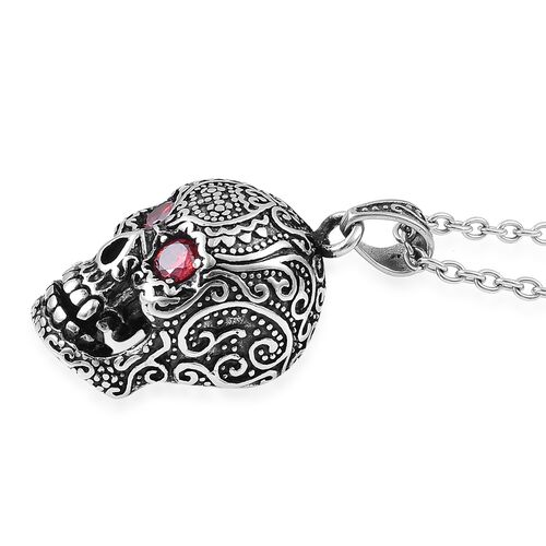 Designer Inspired-Simulated Red Garnet (Rnd) Skull Pendant With Chain (Size 24) in Stainless Steel