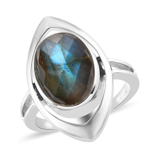 Sajen Silver ILLUMINATION Collection - Labradorite Ring in Platinum Overlay Sterling Silver 6.650 Ct