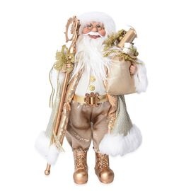 Christmas Decor - Santa Claus Standing with Gift Bag (Size 45 Cm) - Golden and White