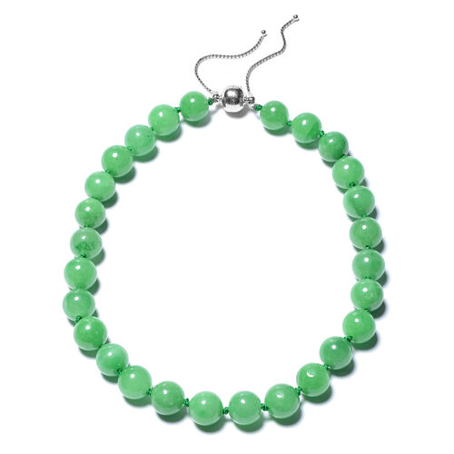Super Find-Green Jade Adjustable Beads Necklace (Size 18-22) with Magnetic Clasp in Sterling Silver
