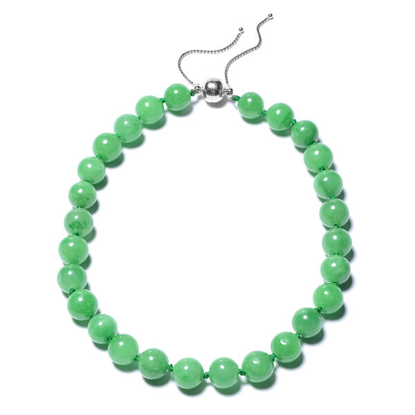 Green Jade Adjustable Beads Necklace (Size 18-22) with Magnetic Clasp in Sterling Silver 801.01 Ct.