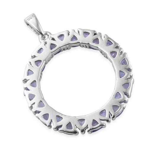 Tanzanite (Tri) Circle Pendant in Platinum Overlay Sterling Silver 2.750 Ct.