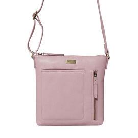 Assots London EDITH 100% Genuine Leather Pebble Grain Crossbody Bag - Pink