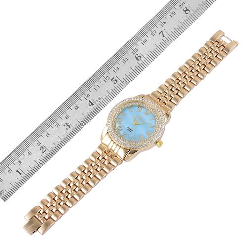 GENOA Japanese Movement Blue MOP Dial with White Austrian Crystal Water Resistant Watch in Yellow Gold Tone with Stainless Steel Back