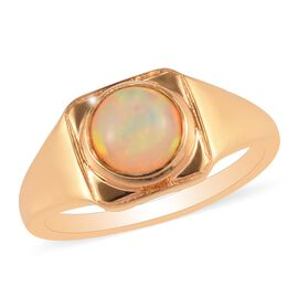 Ethiopian Welo Opal Signet Ring in 14K Gold Overlay Sterling Silver 1.04 Ct.