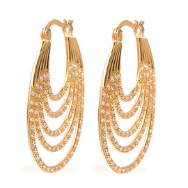 ELANZA Simulated Diamond Multilayer Hoop Earrings in Yellow Gold Plated Sterling Silver