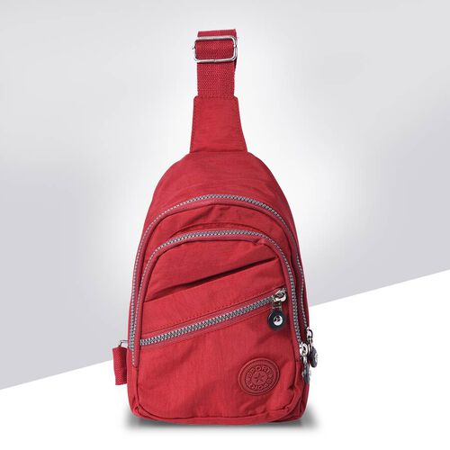 Wine Red Colour Backpack with Zipper Closure and Adjustable Shoulder Strap (Size 17.5x6x20cm)