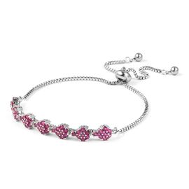 Simulated Ruby Bolo Bracelet in Silver Tone Size 6.5 Inch